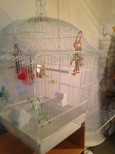 Bird Cage. Medium size, White Metal, Beautiful Victorian cage