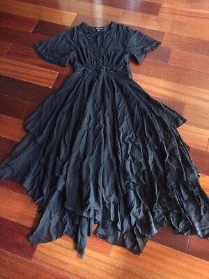 Black Uneven Hem Dress - MARCHESA VOYAGE UNEVEN HEM BLACK EMBELLISHED SILK MAXI DRESS SZ 4