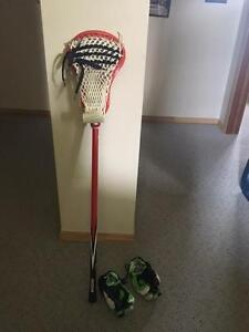 Lacrosse Stick and Gloves
