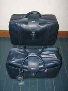 Vintage Samsonite Blue Vinyl Luggage Suitcases, Set of 2, Retro