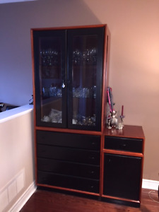 DISPLAY GLASS CABINET w/ 4 DRAWERS
