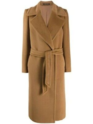 Tagliatore MOLLY BELTED WOOL & CASHMERE COAT Size 40 Camel Brown