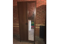 WARDROBE WITH INTEGRATED MIRROR - DARK BROWN