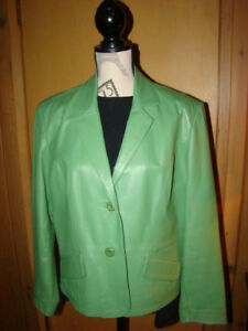 Ladies Apple Green Size Large Leather Jacket by Cleo