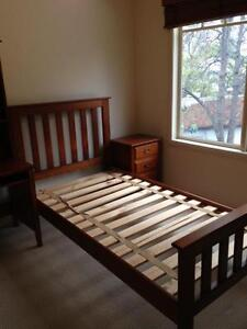 King Single Timber Slat Bed with Innerspring Mattress in VGCond. Ivanhoe Banyule Area Preview