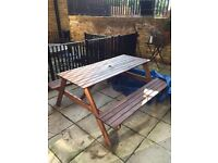 IKEA Outdoor table with benches, good condition, including protective cover