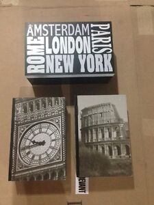 New York, London and Rome Decorative Book Storage Boxes