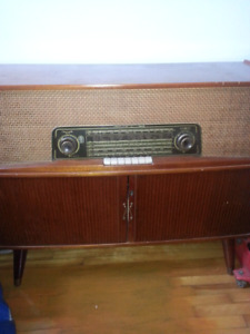 Vintage radio and record player