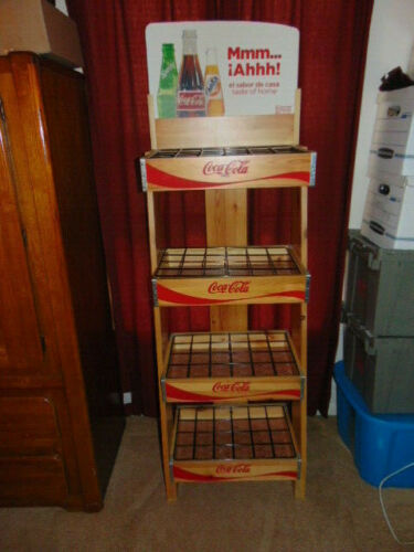 Coca Cola Coke 4 Tier Wooden Advertising Store Display Stand Rack