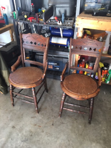2 Matching Antique Chairs Solid Wood FREE