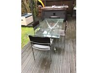 Habitat Glass Dining Table and 4 Leather Chairs (see description below)