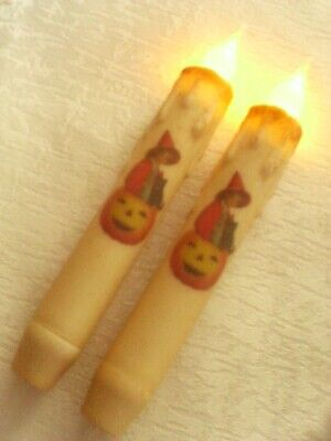 2 HALLOWEEN WITCH TIMER TAPER CANDLES  6.75