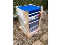 Bott Heavy Duty Cubio Cabinet Toolbox with 5 Drawers 700mm(H) x 525mm(W) x 525mm(D), Gentian Blue