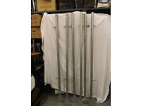 """six galvanised metal frame upright strut supports with bolt-down feet 80"""" tall"""