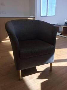Pewter with Black, Patterned Fabric Armchairs Suitable for Office Naremburn Willoughby Area Preview