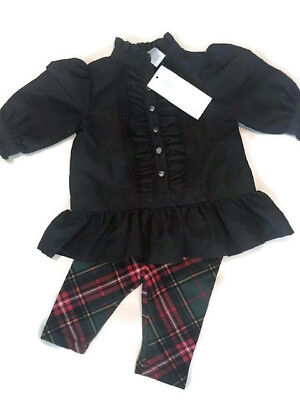 baby girls Ralph Lauren Christmas red plaid legging top set outfit 3 months 3M
