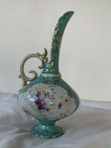 Antique Floral Painted Teal Victorian Ewer Vase Pitcher Porcelain EUC Mint