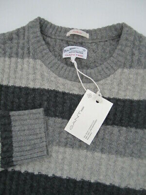 Mens Large Gant Rugger Cablecito Barstripe 100% wool gray sweater