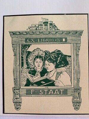Ex-libris Alsace Charles SPINDLER pour F. STAAT, vert