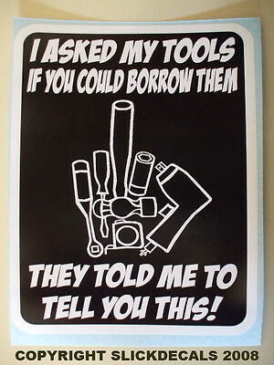 Funny Tool Box Hammer Wrench Socket Tape Machinist Mechanic Sticker Decal Finger