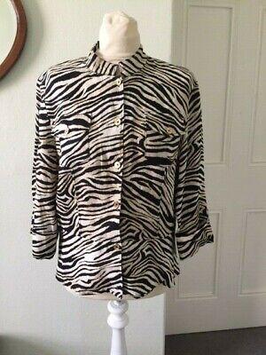 'Jones New York Signature' size L/G  Zebra print Linen  top