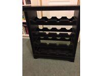 Dark Brown Faux Leather Floor-Standing Wine Rack.