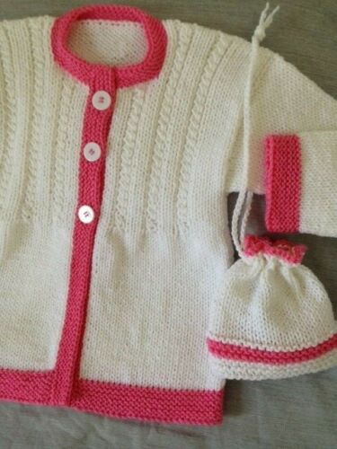 sweater girls 7-8 years new cardigan and bag hand knitted color white-pink
