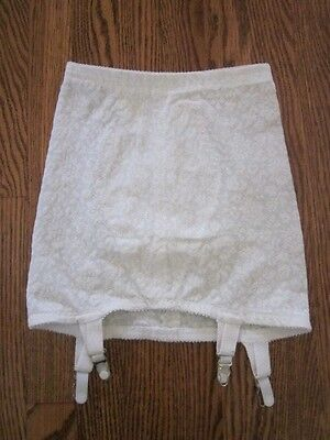 Vintage Open Bottom 4 Garter Full Freedom Size 28 Girdle Nylon Spandex Lace