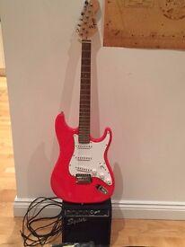 Fender Squier Strat Electric Guitar. Red