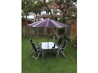 Garden Furniture Set with 4 Chairs and Large Parasol