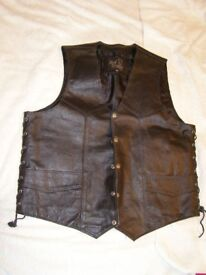 Black Leather Waistcoat with Laced side panels.