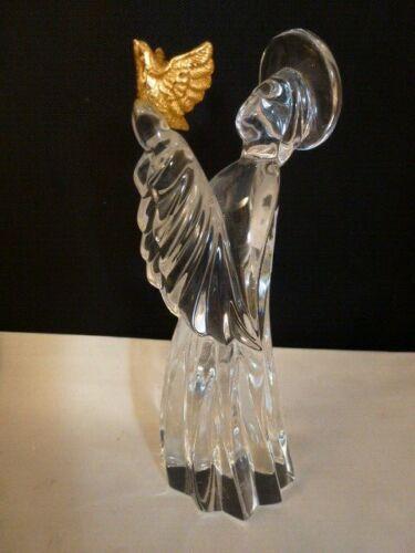 "Gorham Nativity Crystal Angel w/Gold Dove Figurine 5 1/4""H"