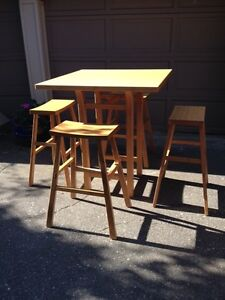 $525 ·  Gorgeous Bamboo Bistro-height Table and 4 Stools