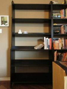 Solid-pine, black-brown bookshelf