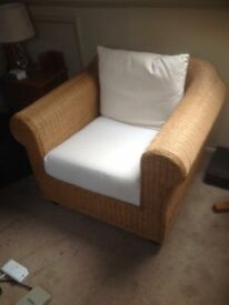 Wicker Chair by 'Cotswold' suitable for lounge,conservatory or summer house. With cushions.