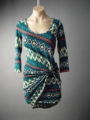 Southwest Tribal Pattern Gathered Twist Drape Sweater Knit Casual 122 mv -
