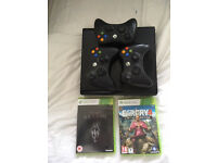 XBOX 360E 500GB With 3 Controllers, Skyrim & Far Cry 4, all cables included fully working