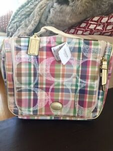 New Coach Cosmetic Travel Bag, Small, Plaid Pattern, Colourful!