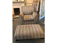 Striped Single Chair & Footstool