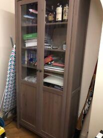 IKEA Cabinet with panel/glass-door HEMNES Grey Brown
