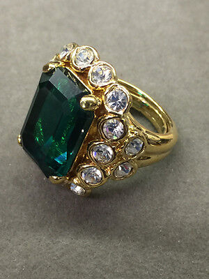 Vintage Goldtone Kenneth Jay Lane Ladies Rhinestone adjustable Ring 5-7