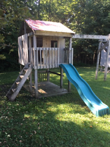 Wooden play structure and house for Kids!