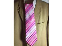HUGO BOSS - Pink Striped Hand Made Tie - 100% Silk.