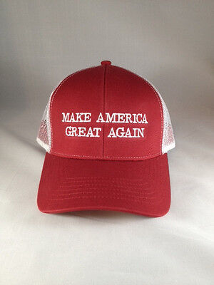 Make America Great Again Donald Trump New Hat Red White Mesh Snap Back Usa Maga