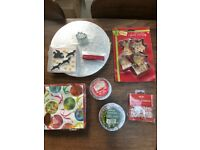 Christmas Baking: John Lewis Cake board, Cookie cutters, Cupcake cases, Serviettes. Collect Fulham