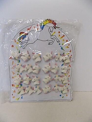 VINTAGE FLOCKED UNICORN PINS CARDED