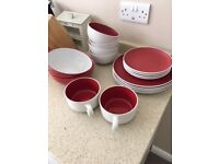 Several red/white items of crockery £10, would suit student flat?