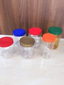 6 large plastic storage containers/jars. Ideal for food, small toys or DIY etc. Collect Fulham