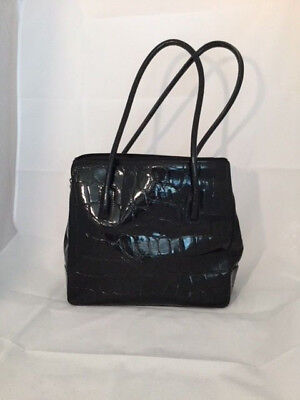 Black Croco Embossed Patent Leather Tote Shoulder (Croco Embossed Patent Leather)