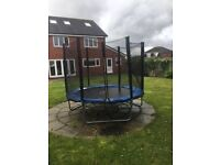 8 ft Trampoline with safety net enclosure & black waterproof cover, RRP £100, perfect working order